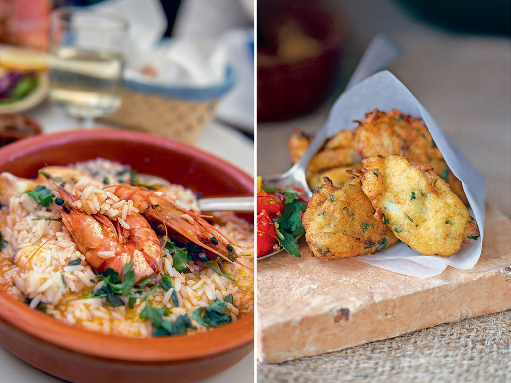 Portugal is among the biggest consumers of codfish, usually eaten here as bolinha de bacalhau or codfish fritters (right); The main difference between Spanish paella and Portuguese arroz de marisco (left) is the latter's runny texture. Photos by Robert George Young/Getty images, Dorling Kindersley/Getty images