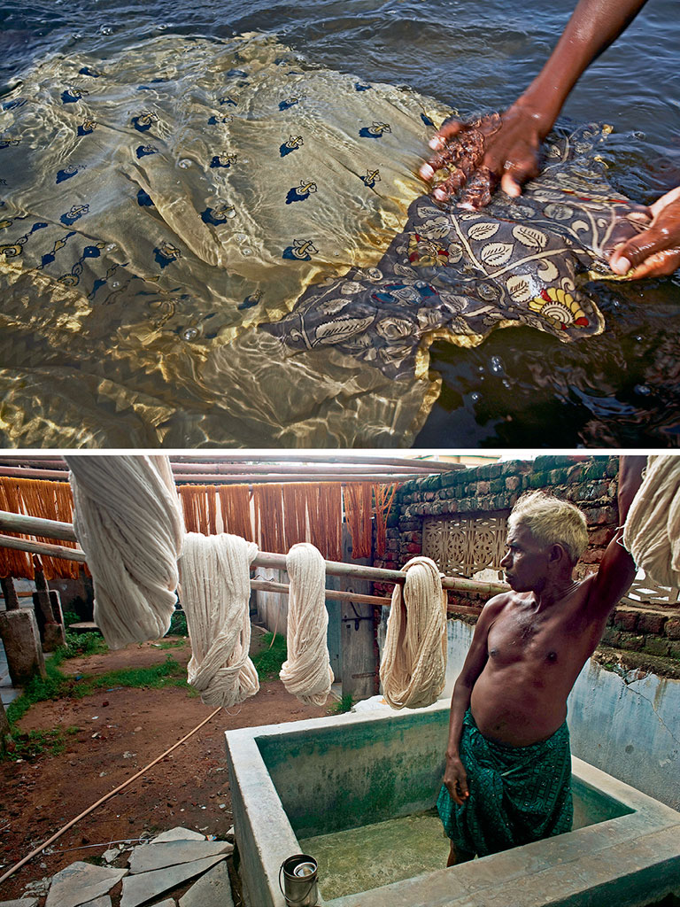 From dyeing (below) to washing off excess dyes (top), a lot goes into that kalamkari sari. Photos by Rajesh Vora/Dinodia Photo/Dinodia Photo Library (washing dye), Franck METOIS/Alamy/India Picture (dyeing).