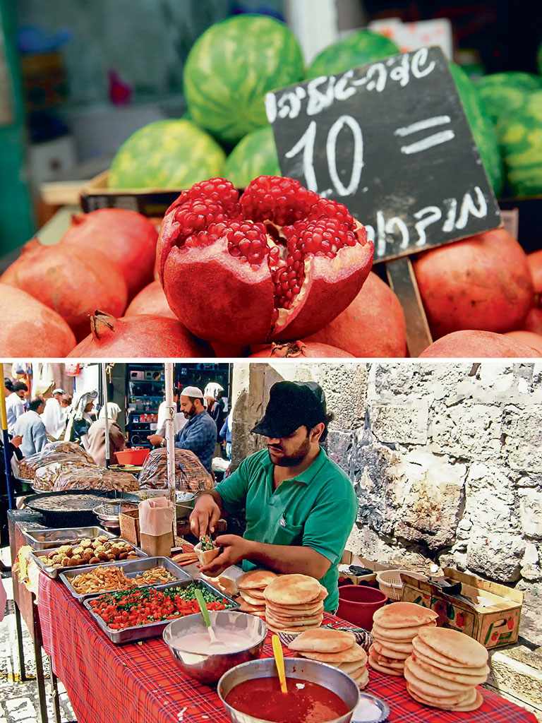 There is plenty to peck at in Tel Aviv: Pomegranates here are the size of planets (top) and falafel (top) and hummus can be gorged on at any street corner (bottom). Photos by Shutterstock/Indiapicture, Nick Brundle Photography/Moment/Getty Images.