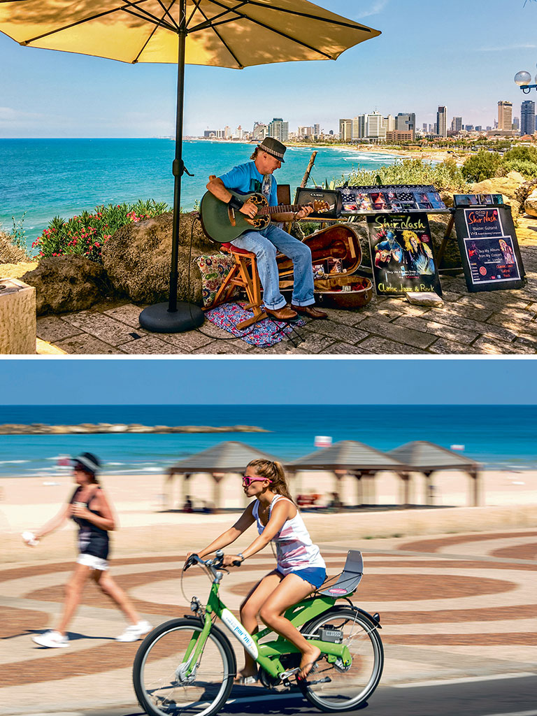 Tel Aviv's scenic boardwalks are ideal for both bicycling (bottom) and busking (top). Photo Courtesy: Kfir Bolotin (Bicycle); Photo by: Anouchka/Istock Unreleased/Getty Images (Artiste).