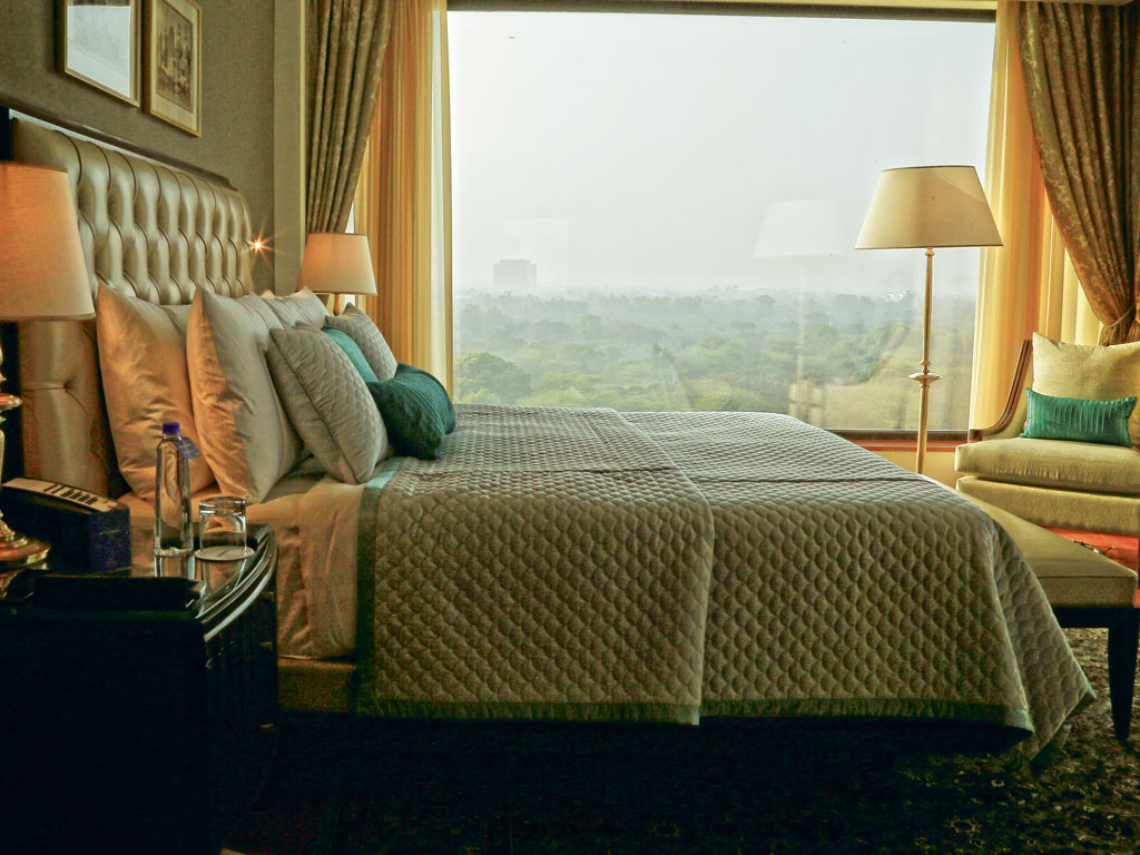 The Oberoi's 220 rooms have all been made more spacious. They each have a walk-in closet and a large bathroom. You can either see the Delhi Golf Club or Humayun's tomb from its big picture windows. Photo by Aditya Sharma.
