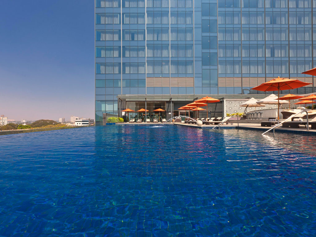 An infinity pool ensures that guests don't need to travel far for their entertainment. Photo Courtesy: Sheraton Grand Bangalore Hotel at Brigade Gateway