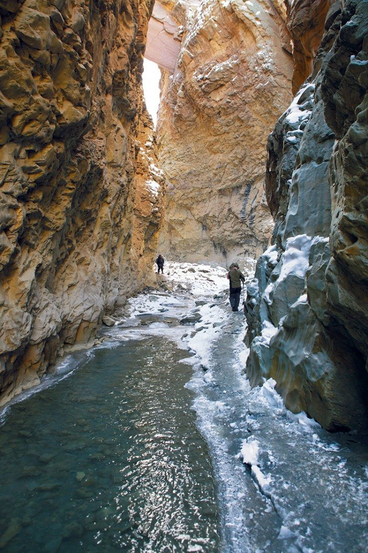The trail to Lingshed follows a gurgling stream through a narrow canyon. The rock faces rise thousands of feet above the river, making trekkers look and feel like ants on a trail. Photo: Milan Moudgill