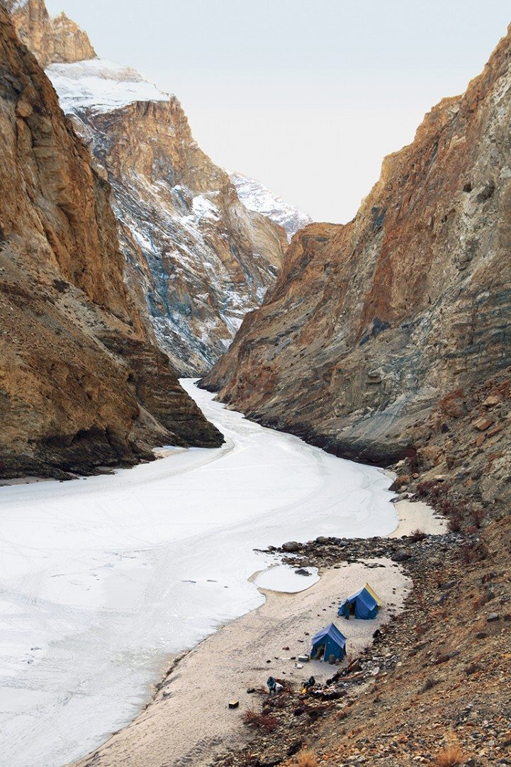 Sometimes, the entire width of the Zanskar is frozen and at other times, only the edges harden to ice giving trekkers a slim path to walk on. Photo: Milan Moudgill