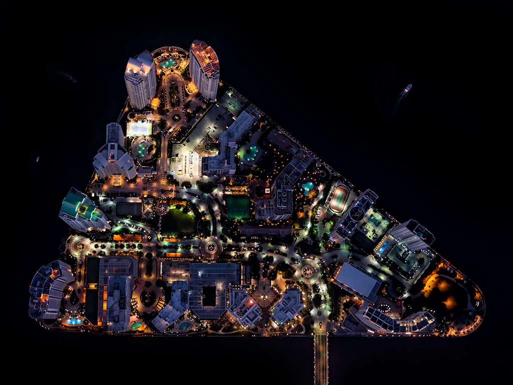 "An aerial night shot, titled ""Pinball"", from the Up In The Air series. Photo: Antoine Rose"