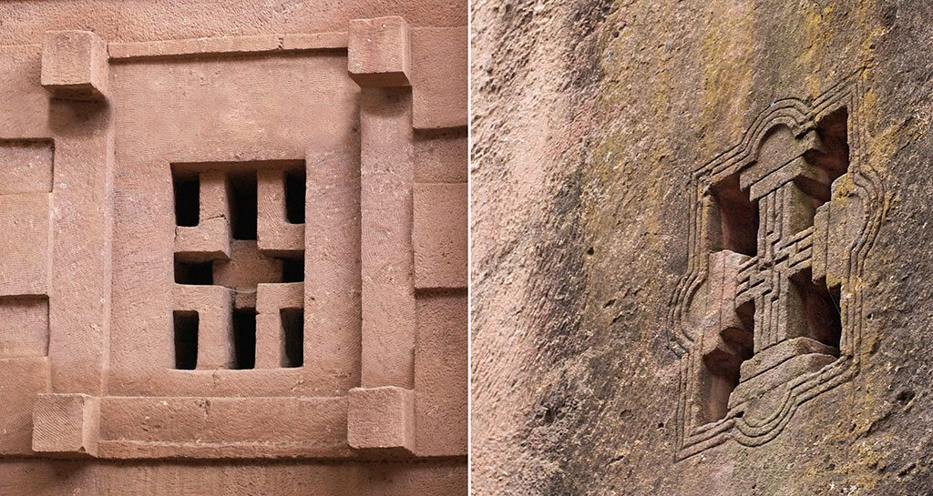 A cruciform window (left) at the church of Biete Amanuel (House of Emmanuel). These windows have fine detailing (right). Photos: A.Davey/Flickr/Creative Commons