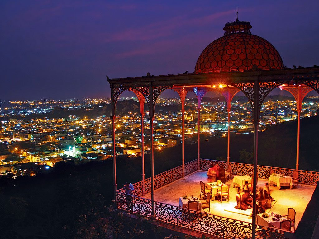 The stained-glass domed structure that crowns the Gol Bungalow at the Taj Falaknuma Palace took six months to restore. Dinner at the spot affords a wonderful view of the brightly lit city. Photo: Parikshit Rao