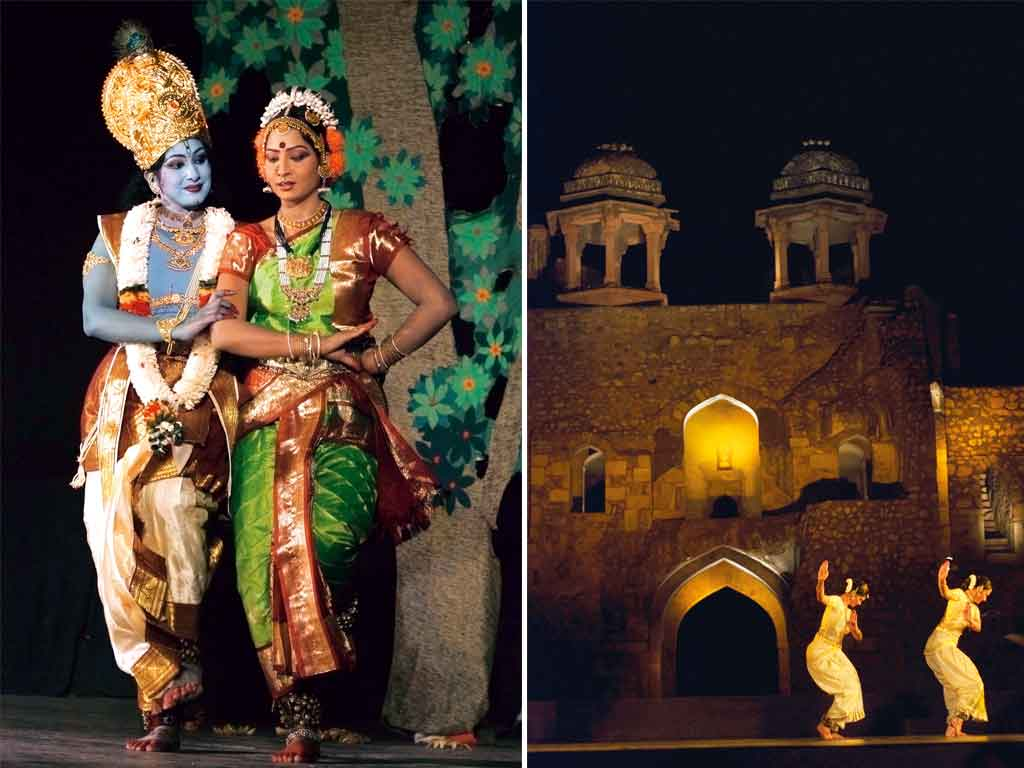 Kuchipudi is performed to classical Carnatic music. The dance form shares many common elements with Bharatanatyam (left). It was once an art form practised only by Brahmin men. Today, the dance is performed by both genders in various parts of the country and the world. Artists (right) perform at the Purana Quila in New Delhi. Photo: Reddeee/Shutterstock (man and woman); IP-Black/IndiaPicture (dancers at Purana Qila)