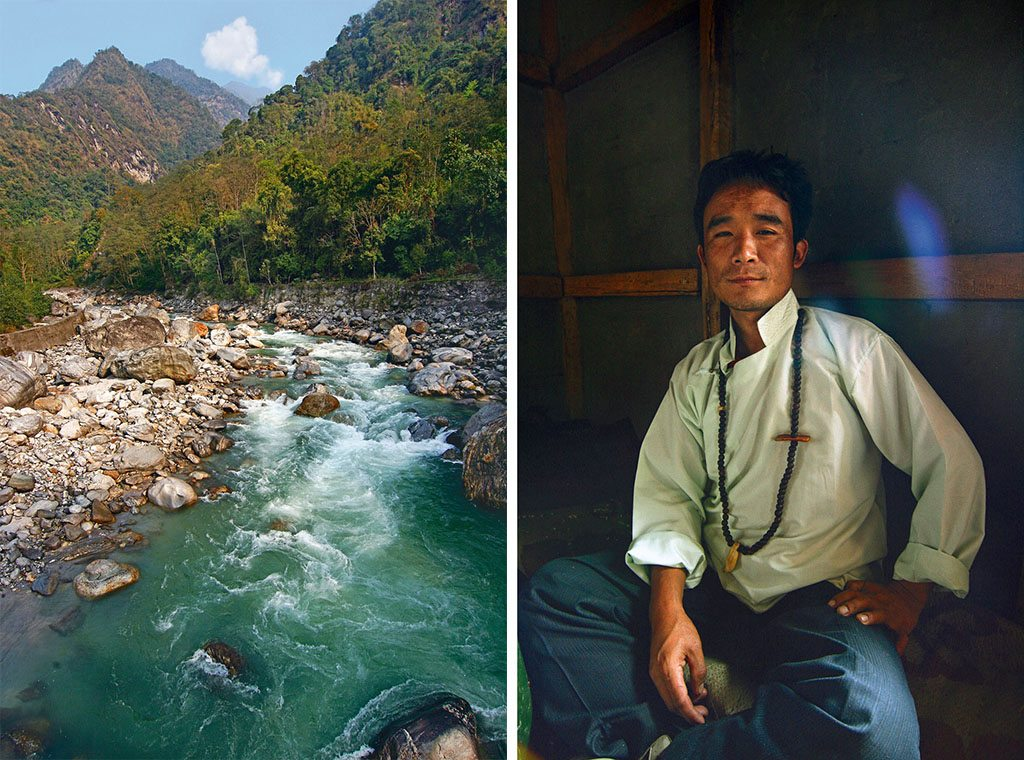 The Lepcha heartland of Upper Dzongu, the mighty river Teesta (left), and the surrounding mountains and forests are worshipped as deities. The resident shaman of Panang village, Tashi Lepcha (left) explains timeless Lepcha philosophies on the environment.