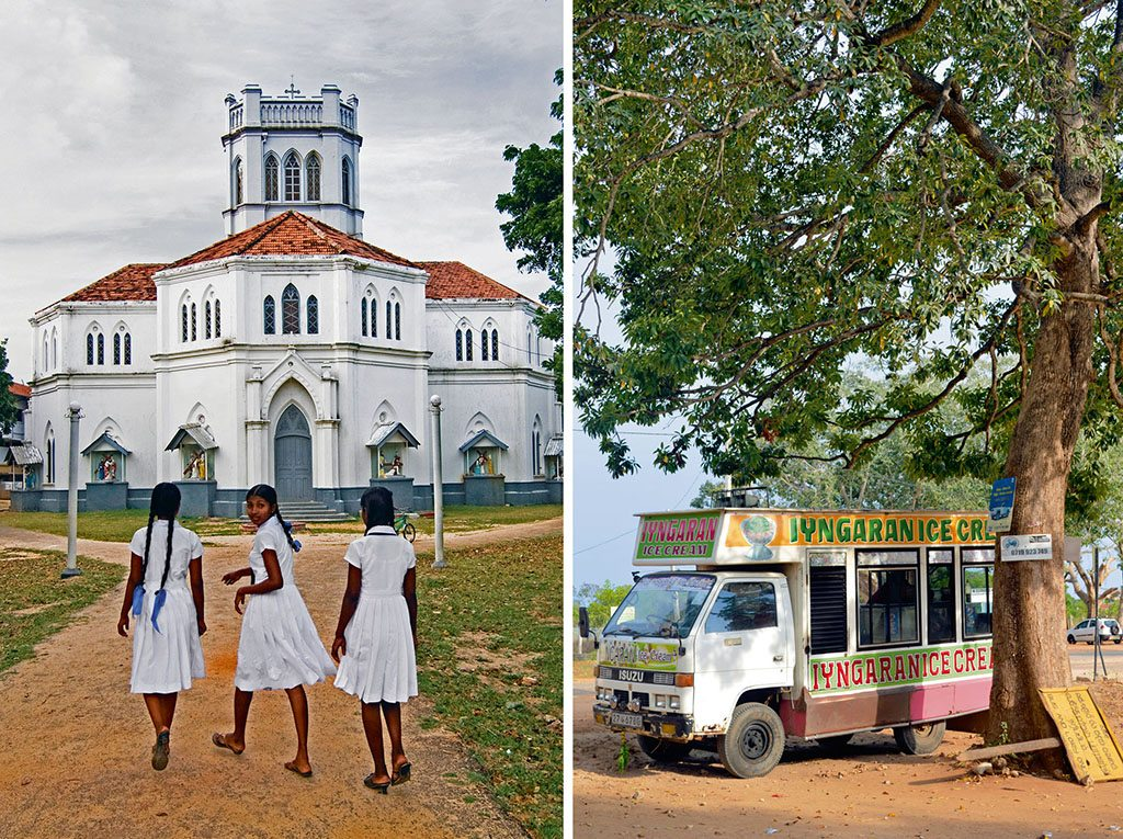 Before the war, Jaffna's schools attracted students (left) from all over Sri Lanka. With the end of the war, people have finally been able to get back to normal lives in a region where education is highly valued. [Photo: Boaz Rottem/Dinodia]; Old-world ice-cream trucks (right) are a common sight throughout Jaffna. [Photo: Vidya Balachander]