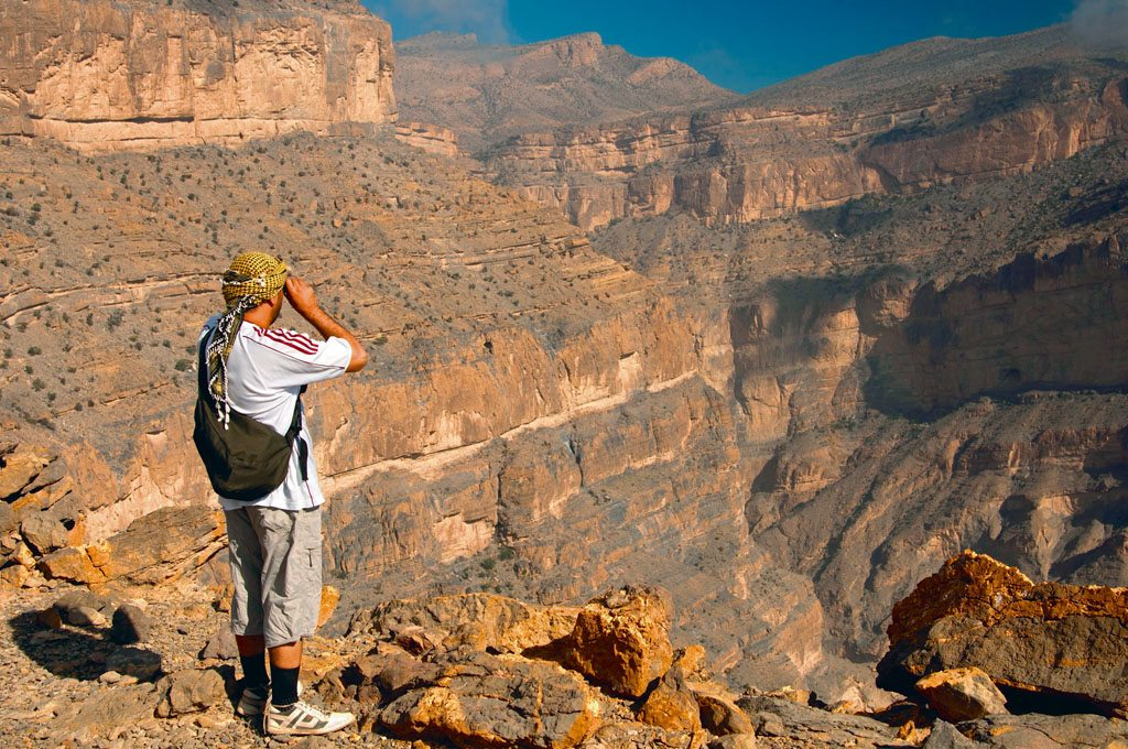 From atop Oman's highest peak, Jebel Shams, visitors take in views of Wadi Nakhr, also called the Grand Canyon of the East. Photo: GFC Collection/Age Fotostock/Dinodia