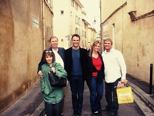 James (centre) with his family in Aix-en-Provence, France in 2009. Photo courtesy James Claxton
