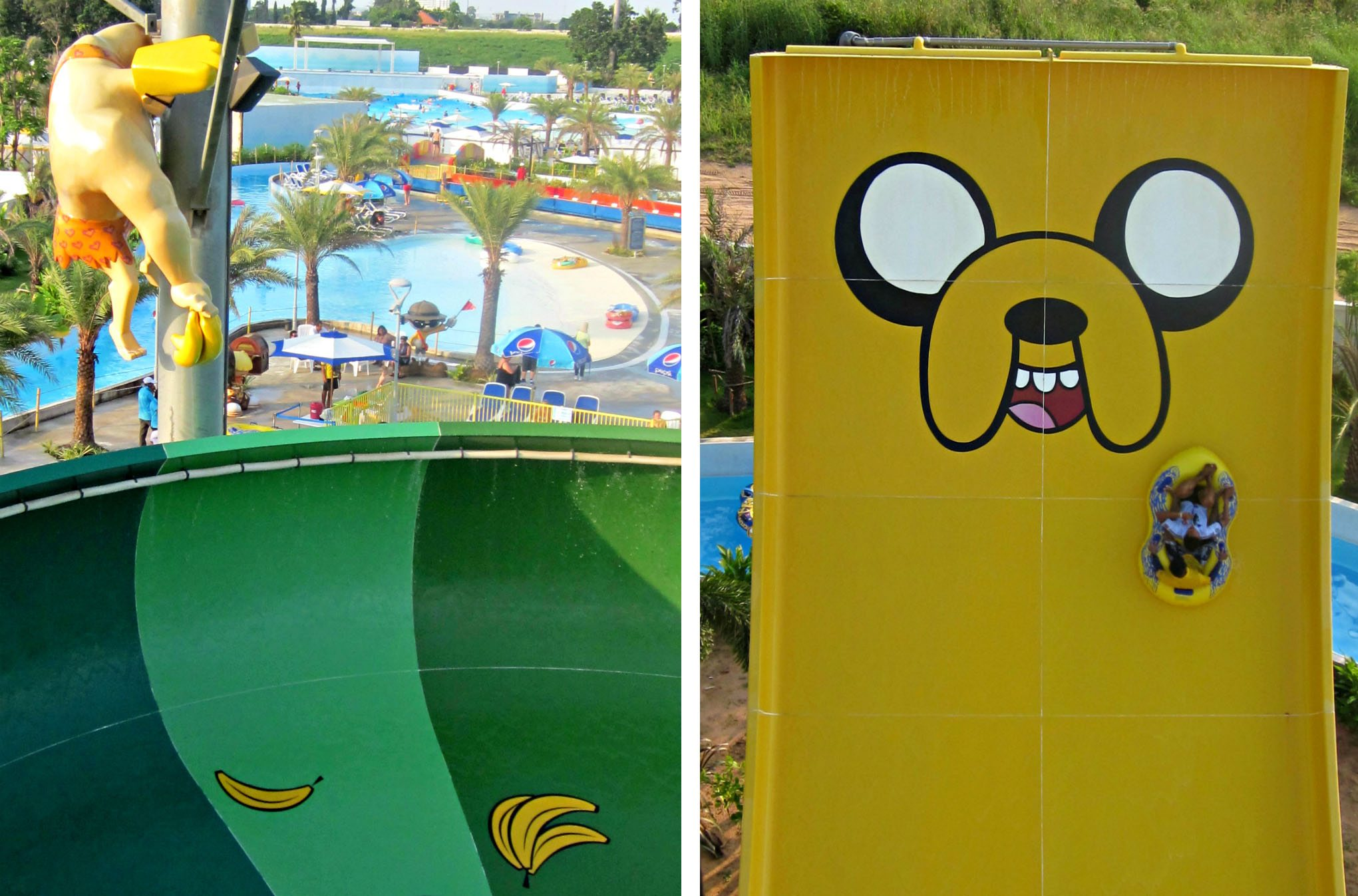 Johnny Bravo joins Ben 10, The Powerpuff Girls and other Cartoon Network heroes at the theme park (left) and rafts slide to the edge of Jake Jump (right). Photos: Saumya Ancheri