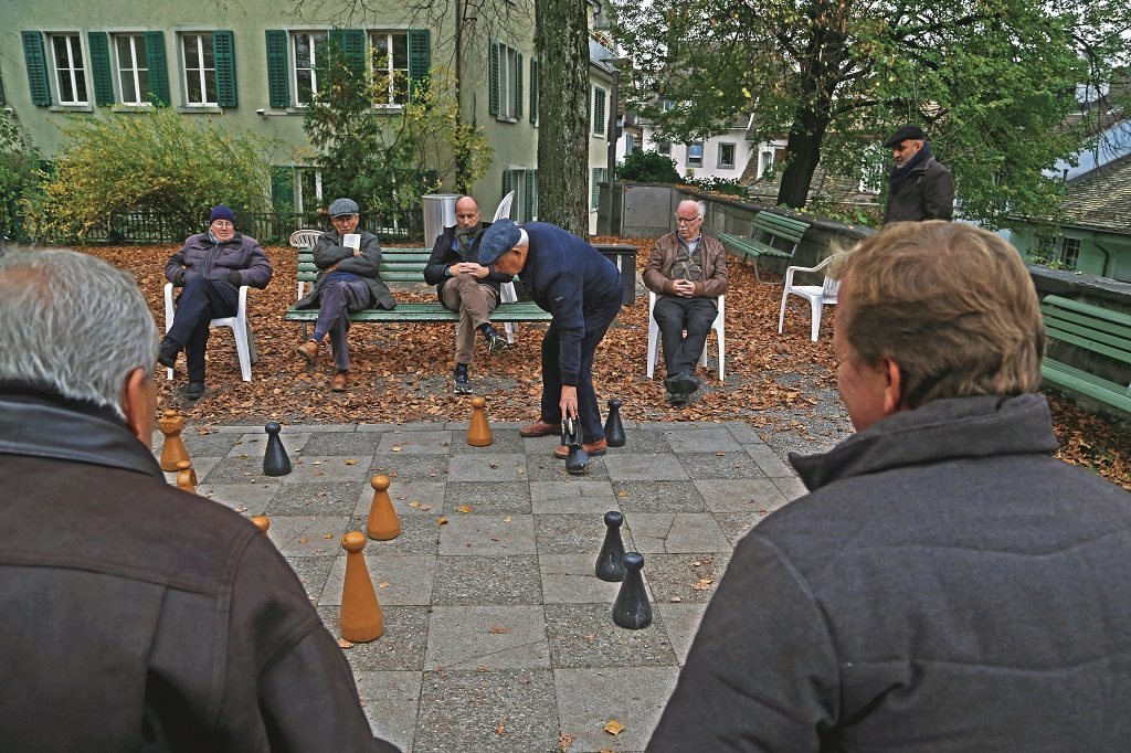 A game of chess is almost always in progress on the giant board on Lindenhof. Photo: Chirodeep Chaudhuri