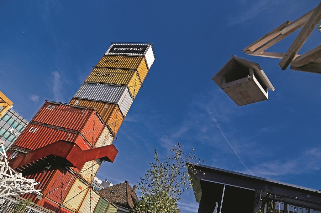 Freitag's signature grunge fashion finds an apt home in the repurposed shipping containers that make up the brand's flagship store in Zurich West. Photo: Chirodeep Chaudhuri