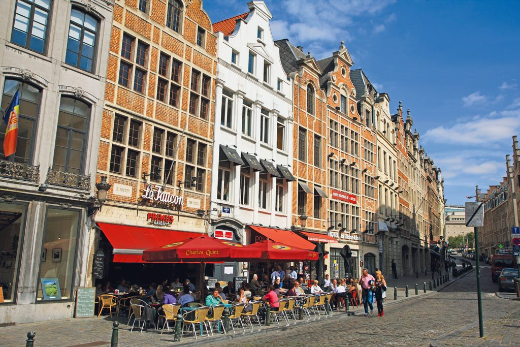 Grand Place is the central square of Brussels and a UNESCO World Heritage Site. It was originally built to serve as a market area and is now a big tourist attraction because of its old architecture and the cafés and bars that fill its sidewalks. Photo: Hiroshi Higuchi/PhotoLibrary/Getty Images