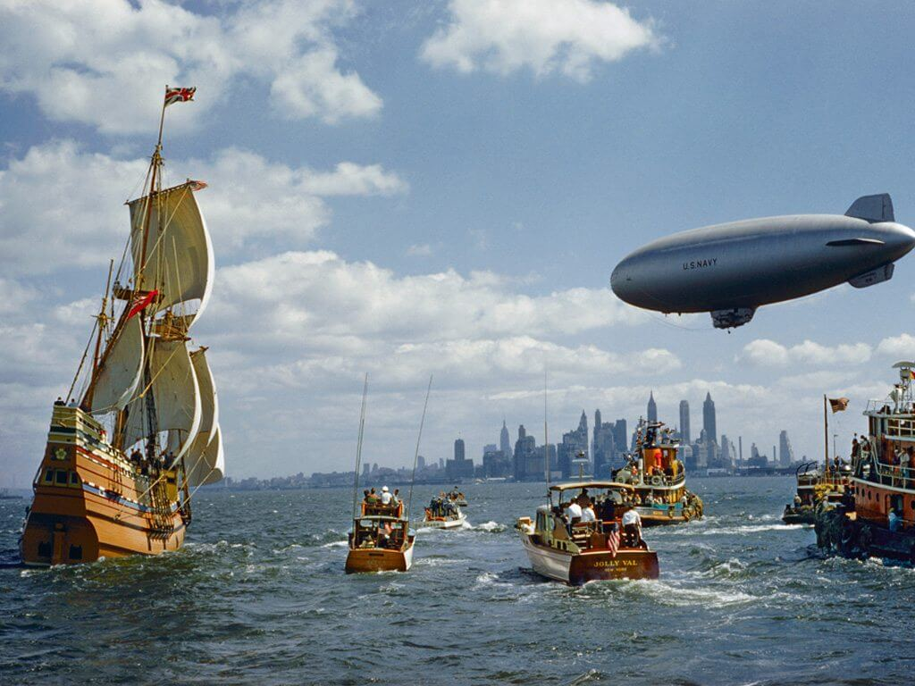 Hailed by a welcoming flotilla, the Mayflower II
