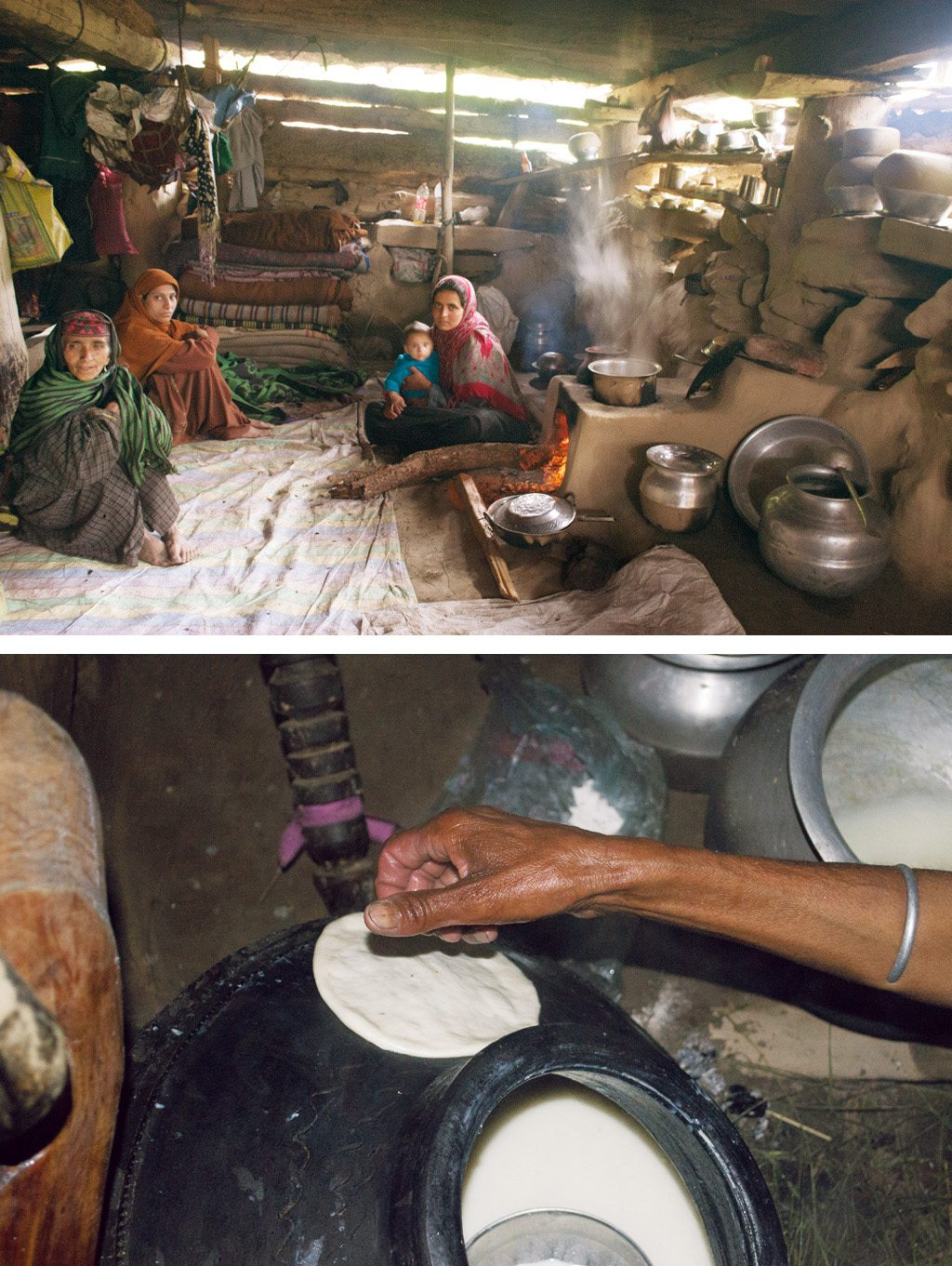 Niyaji and her family take a mid-morning break in their kitchen (top). Later, freshly made kalari (bottom) is shaped like local bread and set aside to cool off. Photos: Aditya Raghavan