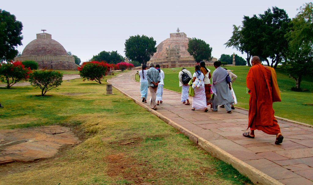 For about 2,000 years, pilgrims from Sri Lanka have been travelling to Sanchi to see the Great Stupa. The main structure is surrounded by smaller votive stupas, monastery structures, and sprawling lawns. Photo: Zac O'Yeah