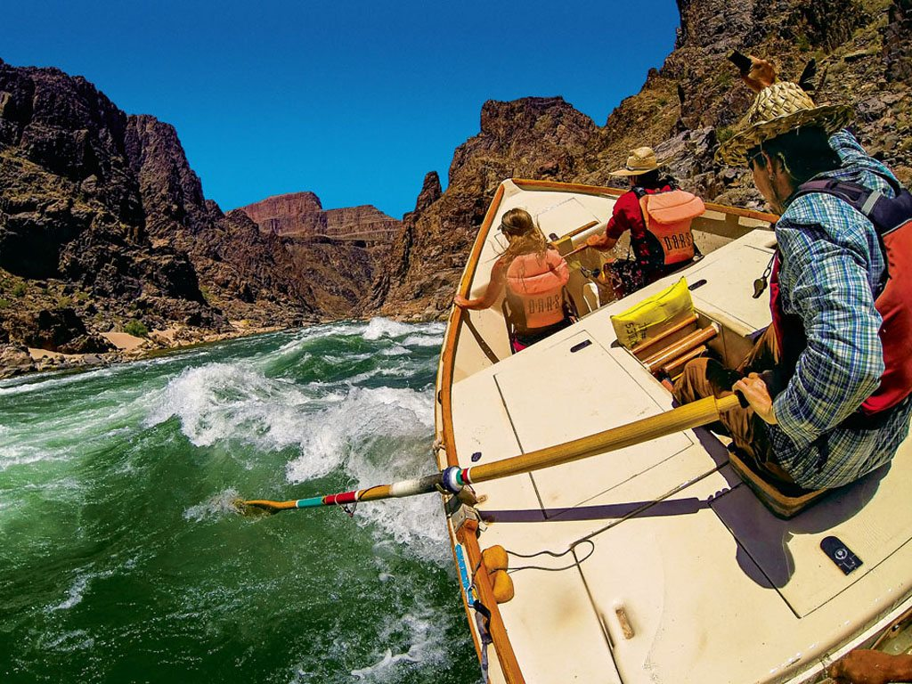 In a boat along the Colorado River