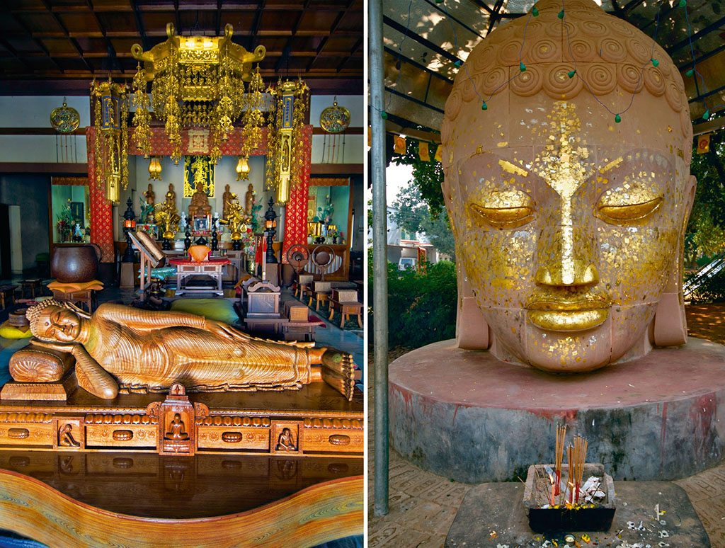 The Japanese temple (left) holds a sculpture of the Reclining Buddha; At Thai shrines (right), visitors often glue thin, square gold leaves on sculptures. Photos: Tim Makins/Lonely Planet Images/Getty Images (Sleeping Buddha); Dinodia (Buddha head)