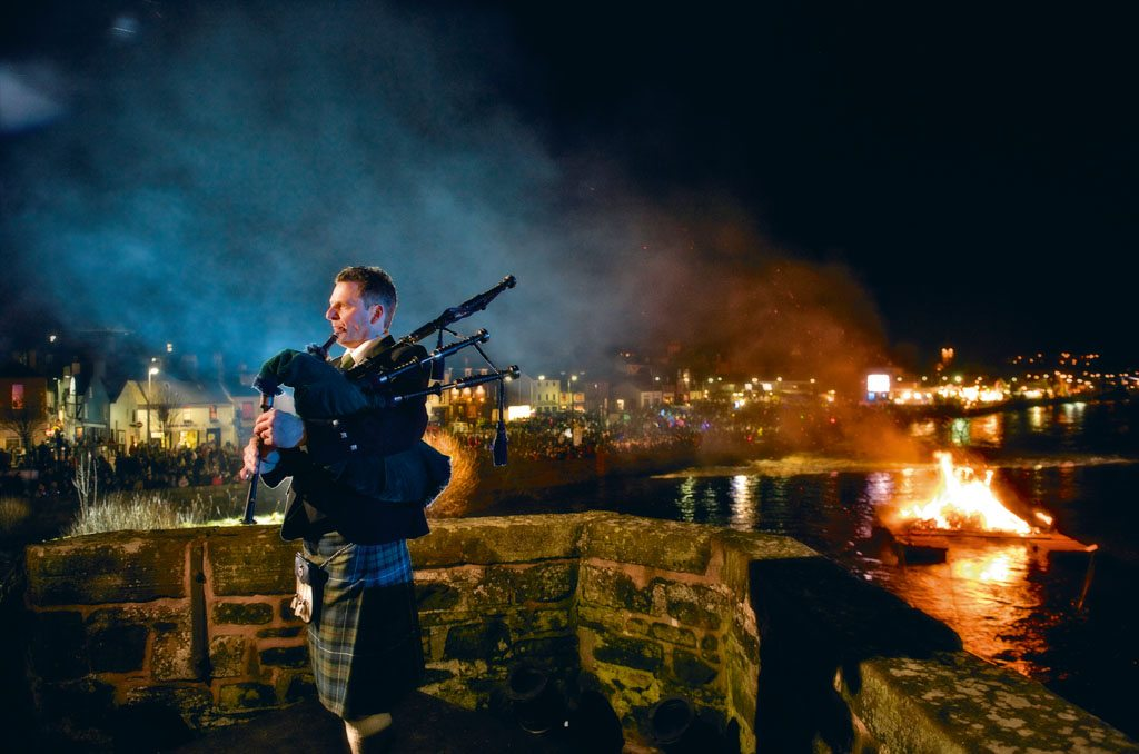 As with all Scottish festivities, bagpipes have a large role to play at Burns Night. The festival, dedicated to poet Robert Burns, is celebrated across Scotland in large cities and small towns like Dumfries. Photo: Jim Richardson/National Geographic Creative