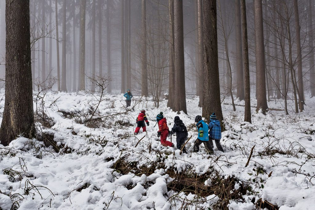 """In a """"forest kindergarten"""" in Langnau am Albis, a suburb of Zurich, Switzerland, children spend most of the school day in the woods, regardless of the weather. They learn whittling, fire starting, and denbuilding; they're able to explore. Supporters say such schools foster self-confidence and an independent spirit."""