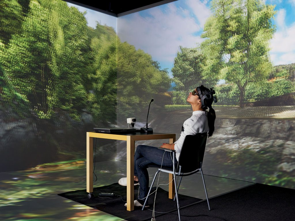 Virtual nature is soothing too. Swedish researcher Matilda van den Bosch stresses her subjects with a math test and a simulated job interview. When she delivers them into a virtual forest with singing birds, their heart rate soon recovers its normal rhythm.