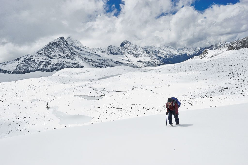 The trek to Bara Bangal is as lonely as it is beautiful, with not a soul in sight aside from the occasional shepherd. Residents of Bara Bangal spend only half the year in the village, clinging to a migratory lifestyle that's become increasingly rare in the modern world. Photo: Sankar Sridhar