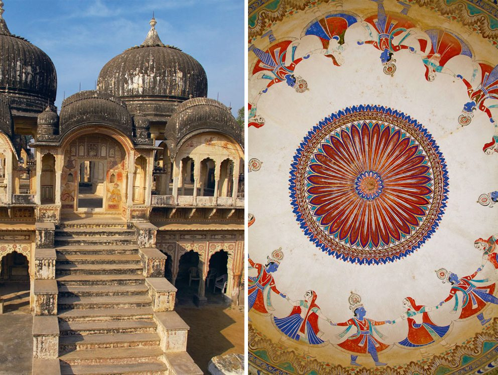 Ramgarh has over 45 splendid chhatris (left), built by rich families to honour their dead. The most well known was made for Seth Ramgopal Poddar in 1872; Scenes from the Ramayana, like Krishna's raas leela, adorn the roofs of Ramgarh's chhatris (right). Photos: Bhaven Jani