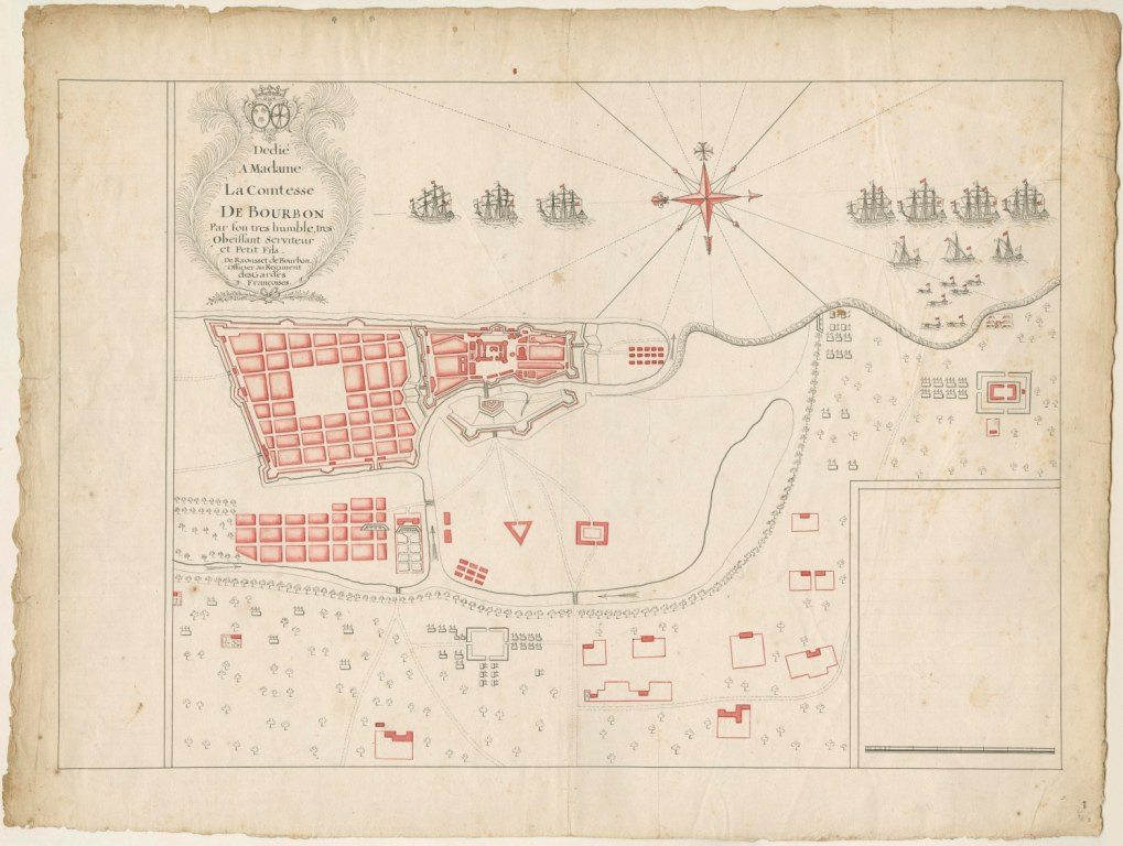 Raousset de Bourbon. Chennai (formerly Madras), Tamil Nadu. Madras, 1746 Manuscript, pen and ink with red wash on paper, 46 X 61 cms.Photo:Kalakriti Archives