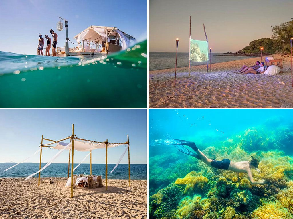 Strap on a snorkelling mask and dive in to start exploring (top left); Round off the evening with a movie screening on the beach, under a canopy of stars (top right); The waters beneath the room are home to turtles, whales, and coral reefs that are hotbeds of marine biodiversity (bottom right); One of the perks the winner gets is a beach lunch from Aussie chef Neil Perry, made with local produce from the region of North Queensland (bottom left). Photo courtesy Airbnb.