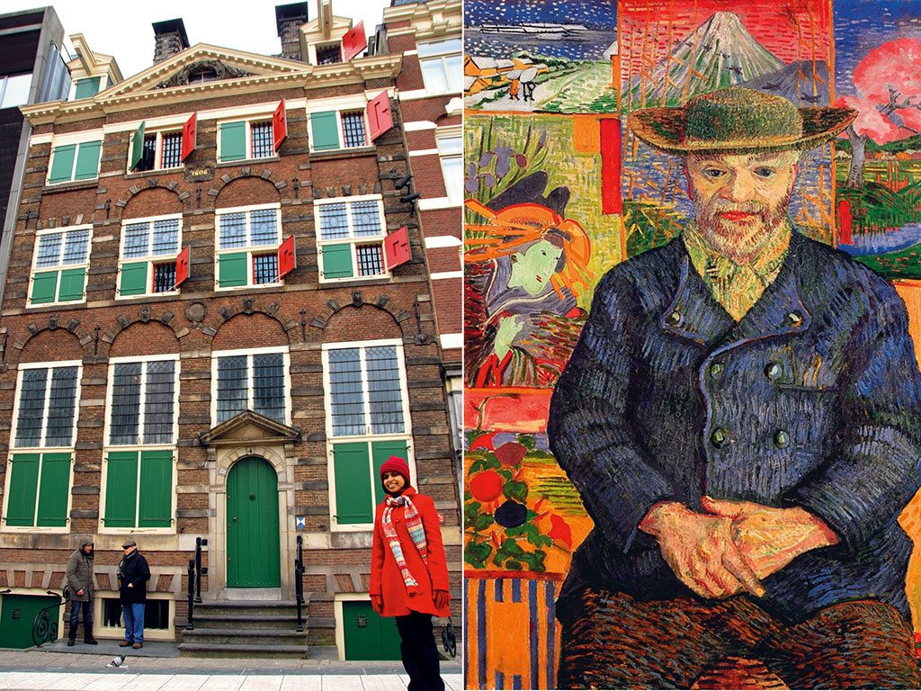 "The author outside the Rembrandt House Museum (left), where the famous painter lived and worked for many years; ""Père Tanguy"" is Van Gogh's portrait (right) of his dear friend Julien-François Tanguy, who ran a painting supplies store in Paris. Photo: Shreya Sen-Handley (lady), Buyenlarge/UIG/Dinodia (portrait)"