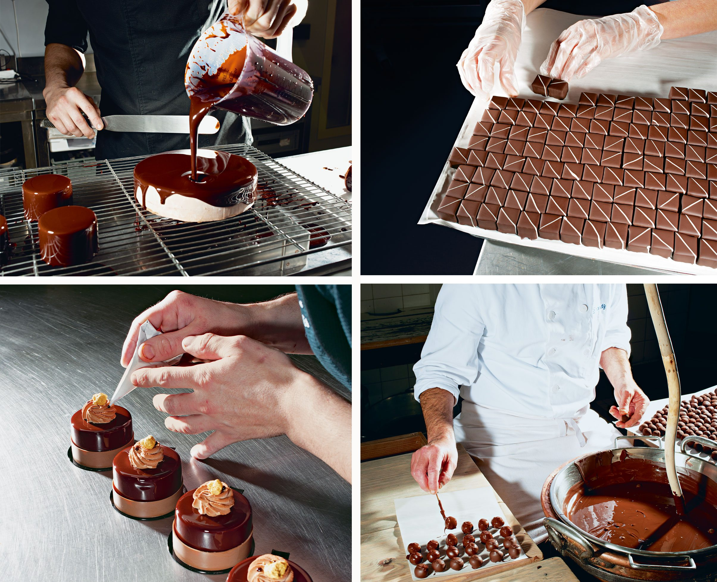 Chocolate glaze pours from a pitcher to coat a cake at Maison Pariès (top left); Bonbon banane confections fill a tray at L'Atelier du Chocolat (top right); Pirouette pastries receive final touches at Maison Pariès (bottom left); Master chocolatier Denis Ortali dips balls of ganache into liquid chocolate at Daranatz (bottom right). Photos: Brian Finke