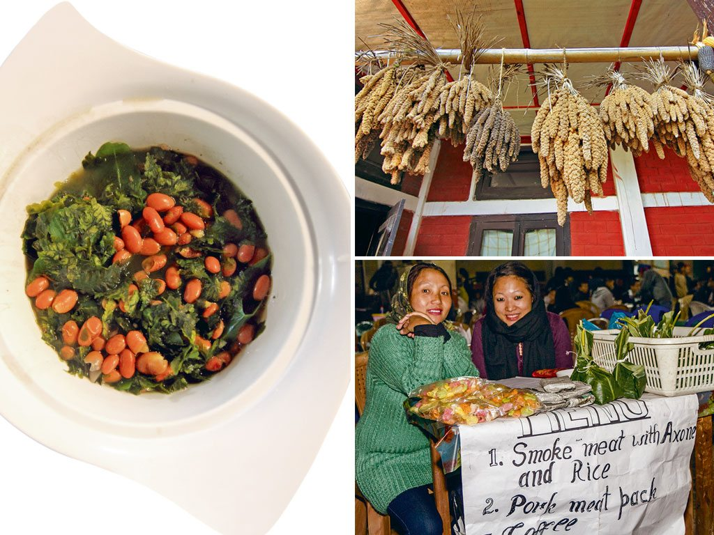 Foraged ferns, millet, and a market stall in Nagaland