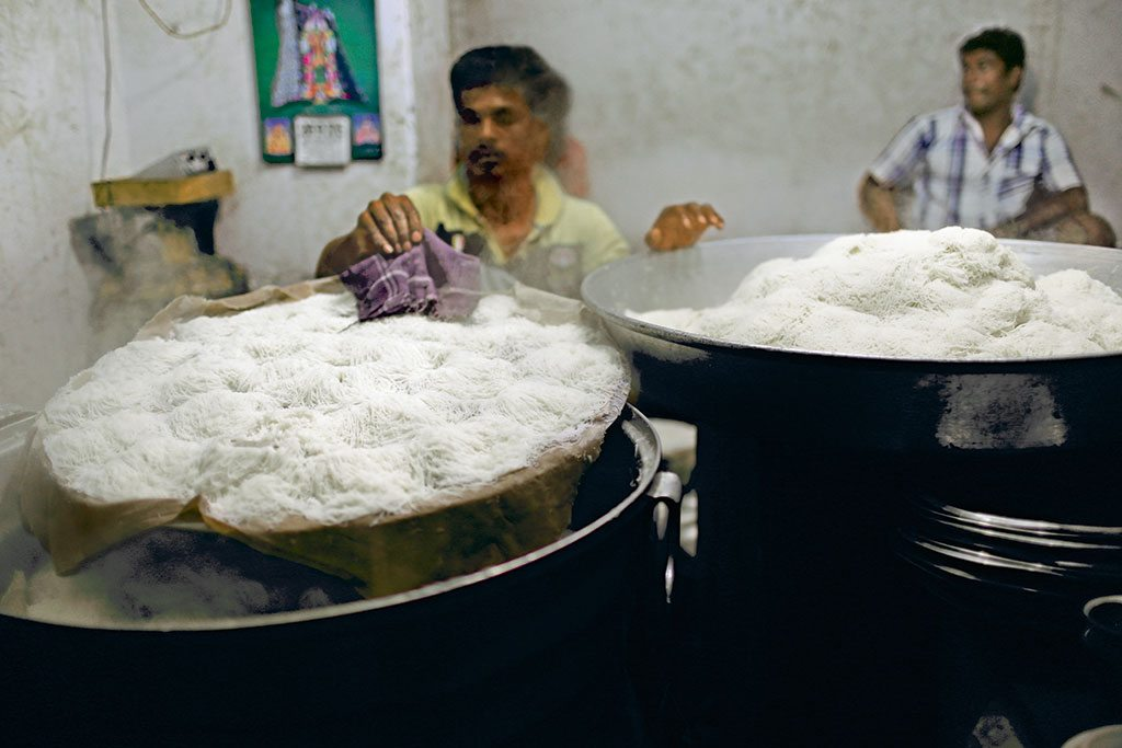 Burma Idiyappam shop in Madurai has just one thing on the menu: pillow-soft string hoppers with a sprinkling of coconut and sugar. Photo: Vahishta Mistry