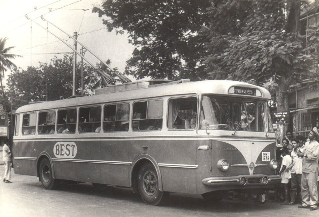 Trolley buses were powered by electric wires running overhead.