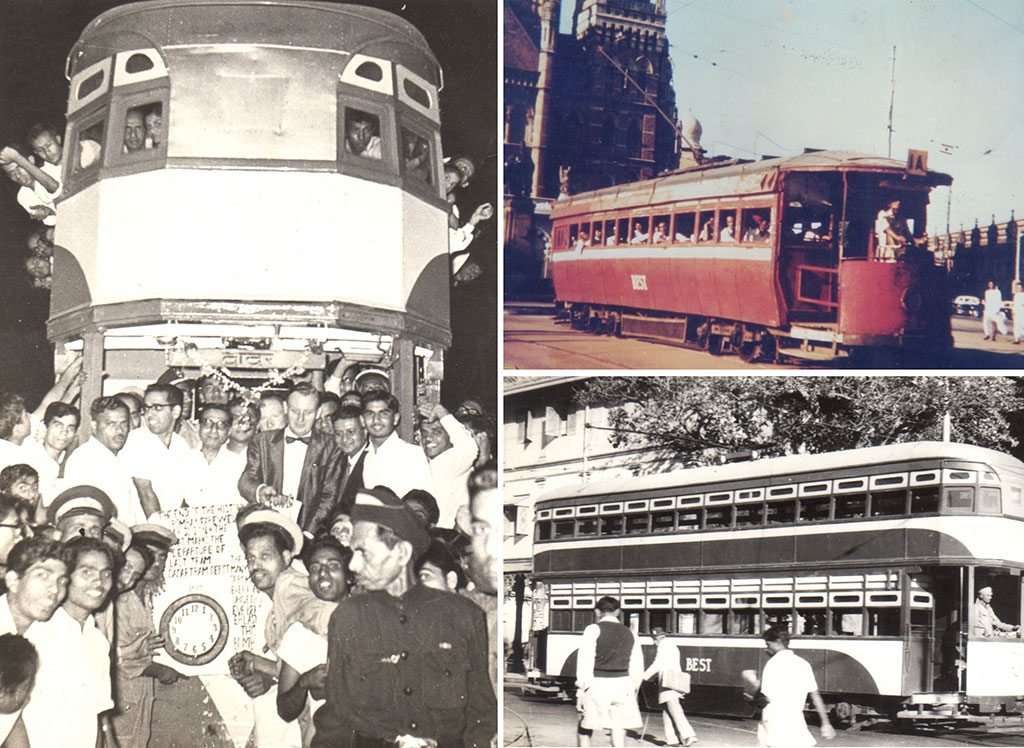 With great fanfare, the last tram service in Mumbai ran in March 1964 (left); A single-compartment electric tram makes its way in front of the Municipal office (top right); Double-decker trams made their debut on Mumbai's streets in 1920 (bottom right)