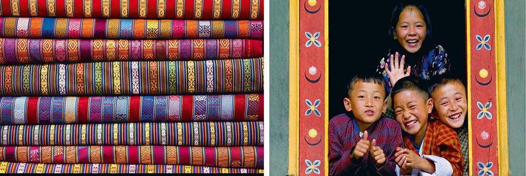 The traditional garments of Bhutan are the kira for women and gho for men. Both are made with brightly coloured fabric. Photo: Katie Garrod/Awl Images/Getty Images (garments); Keren Su/Lonely Planet Image/Getty images (kids)