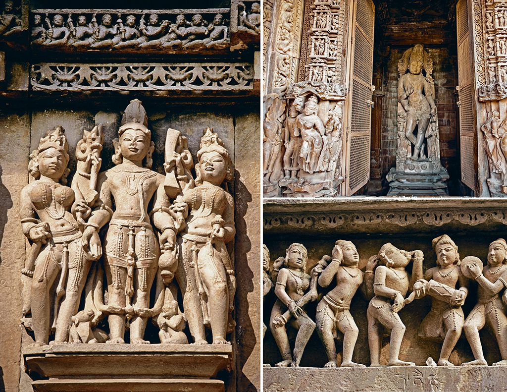 While numerous sculptures fill the temples, the scenes depicted and the characters portrayed change as one moves from the outer to the inner areas. Believed to depict the karmic cycle of life, the scenes shift from everyday ones like marriage processions (bottom right), erotica, war, and kings and holy men flanked by their subjects (left) on the outside, to gods and goddesses (top right) on the inside. This depicts the journey from the mundane to the spiritual. Photos: Atid Kiasttsaksiri/Contributor/Getty Images (door); Robert Preston Photography/Alamy/Indiapicture (trio); Alvaro Leiva/Age Fotostock/Dinodia Photo Library (procession)