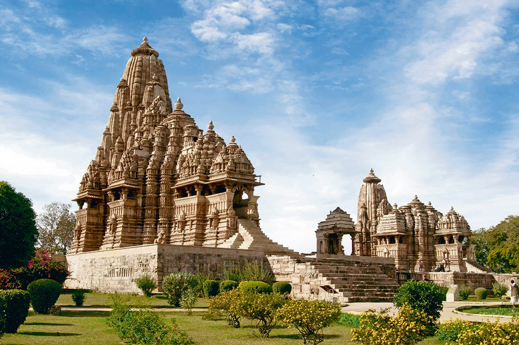 A UNESCO World Heritage Site, the western complex of temples is the largest and most well preserved at Khajuraho. It is surrounded by gardens lined with colourful flowers. Photo: Body Phillippe/Hemis.Fri/Getty Images