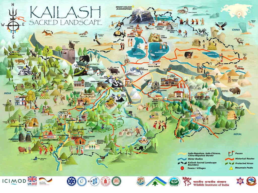 Check out this stunningly detailed illustrated map of india nepal kailash sacred landscape gumiabroncs Choice Image