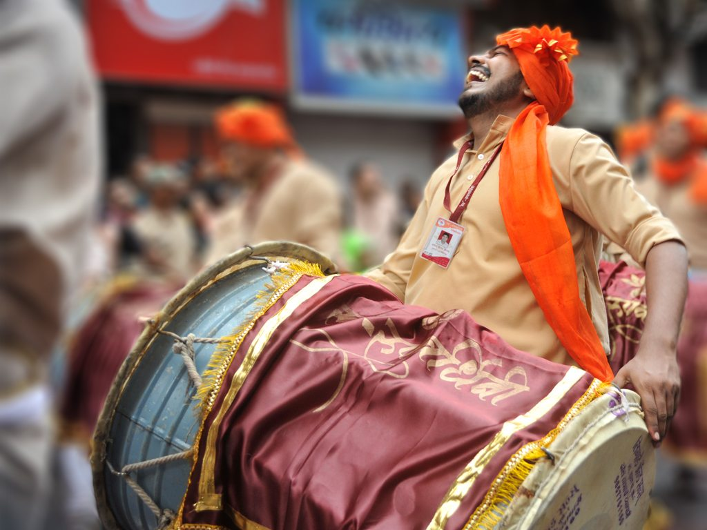 Dhols or drums are a big part of festive celebrations in Maharashtra, as seen during this Ganpati visarjan in Pune.