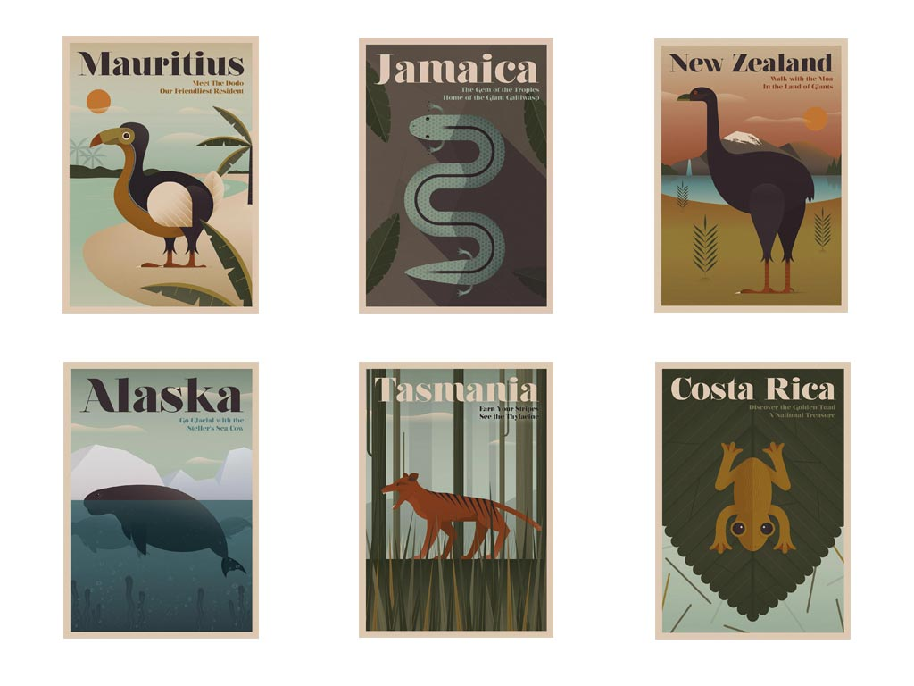 A series of vintage-style art highlights long-lost creatures like the moa and golden toad. Photo courtesy Expedia UK