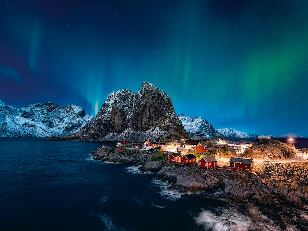 Aurora borealis, Lofoten, Norway, photo by lt photo/moment/getty images