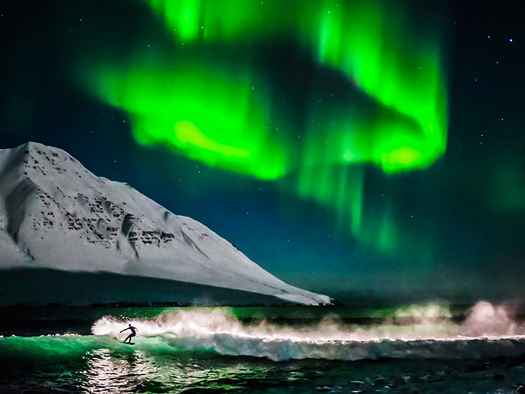 Northern Lights Surfing Iceland