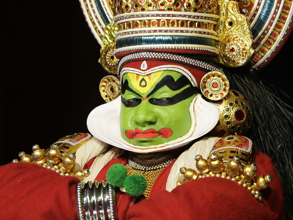 Kerala's kathakali performances are known for plenty of eyebrow-wriggling and intense facial expressions, as this artist in Fort Kochi illustrates.