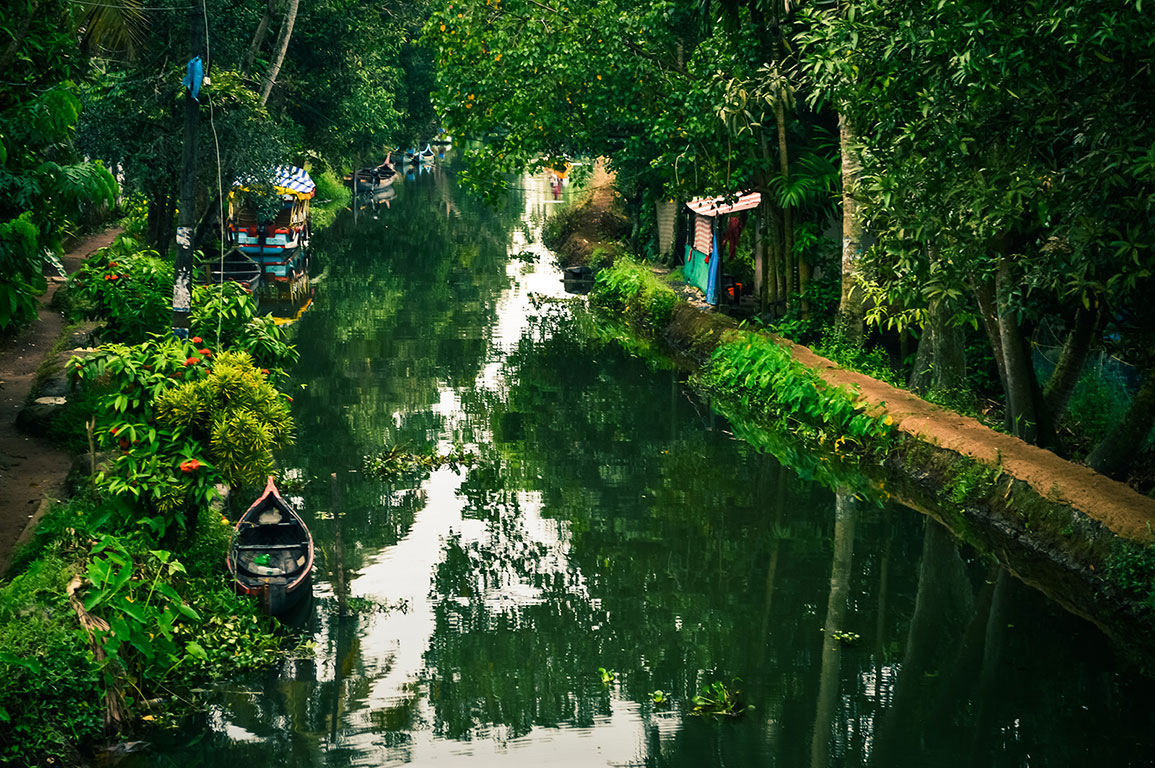 The backwaters of Alleppey, Kerala, where boats are still used to travel short distances.