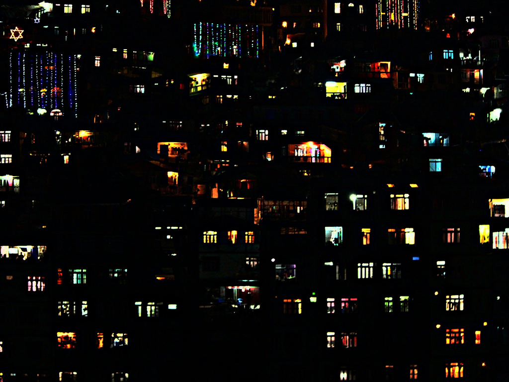 Homes in Adarsh Gaon, Sikkim, are brightly lit during the festive season.