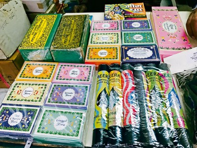 The store combines fragrances like musk and rose to make handmade soaps, incense, and dhoop sticks. Photo: Nitin Chaudhary